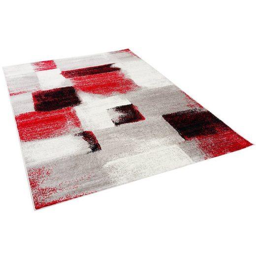 Designteppich »Designer Teppich Tango Karo Rot Grau Verlauf«, Pergamon, Rechteckig, Höhe 11 mm