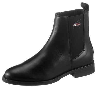 Tommy Jeans »ESSENTIALS LEATHER FLAT BOOT« Chelseaboots mit beidseitigem Stretcheinsatz