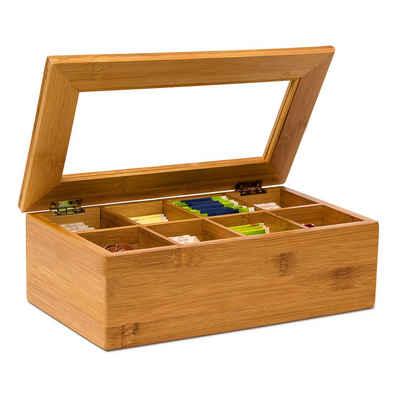 relaxdays Teebox »Teebox Bambus lackiert 6 und 8 Fächer«, Bambus