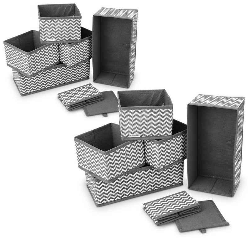 Navaris Aufbewahrungsbox, Organizer Ordnungssystem Stoffboxen - 12 Stück in verschiedenen Größen - für Kleiderschrank und Schubladen - faltbar