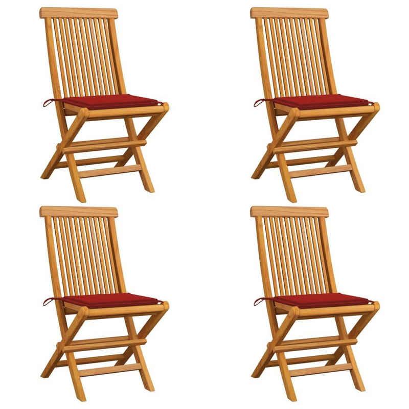 vidaXL Gartenstuhl »vidaXL Gartenstühle mit Roten Kissen 4 Stk. Teak Massivholz«