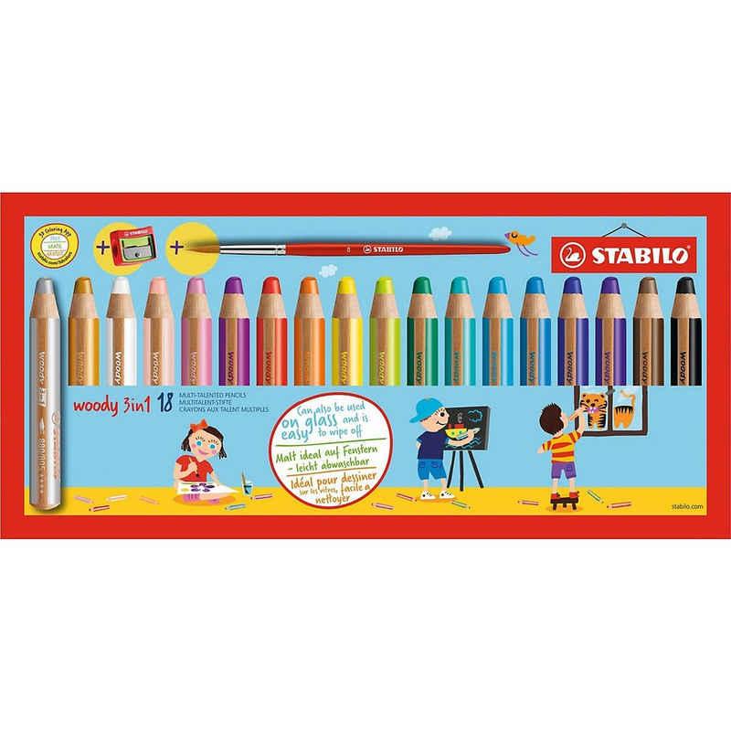 STABILO Buntstift »Buntstift woody 3 in 1, 18 Farben, inkl. Spitzer &«