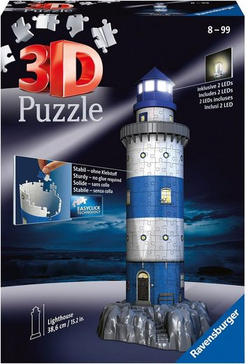 Ravensburger 3D-Puzzle »Leuchtturm bei Nacht«, 216 Puzzleteile, mit Leuchtmodul inkl. LEDs; Made in Europe