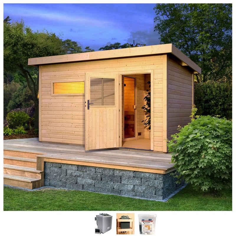 Karibu Saunahaus »Uwe 3«, BxTxH: 433 x 262 x 227 cm, 38 mm, 9-kW-Bio-Ofen mit ext. Steuerung