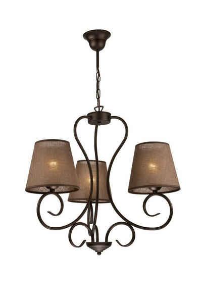 Licht-Erlebnisse Kronleuchter »ABUELA«, Kronleuchter Metall Stoffschirm Landhausstil Wohnzimmer Esstisch Hängelampe