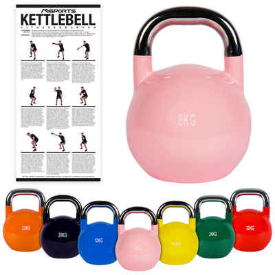 MSports® Kettlebell »Kettlebell Competition 4 - 32 kg inkl. Übungsposter Professional Studio Qualität Wettkampf Kugelhantel«