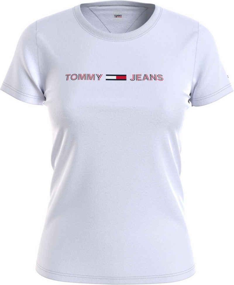 Tommy Jeans Rundhalsshirt »TJW Slim RWB Linear Tee« mit modischem Tommy Jeans Linear Logo-Schriftzug