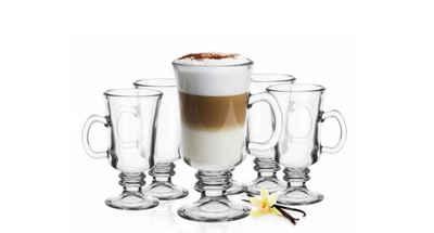 Sendez Latte-Macchiato-Glas »Irish Coffee Gläser mit Henkel und Edelstahl-Löffeln Kaffeegläser«, Glas