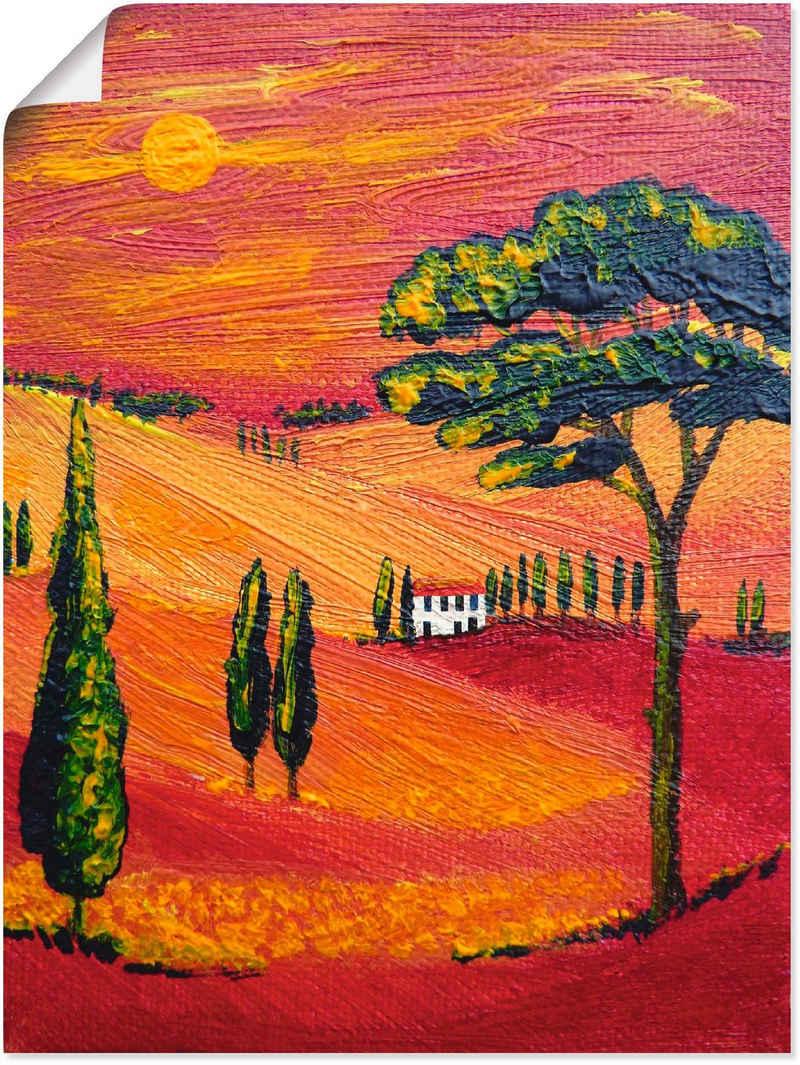 Artland Wandbild »Irgendwo in der Toskana/Toscana«, Sonnenaufgang & -untergang (1 Stück), in vielen Größen & Produktarten - Alubild / Outdoorbild für den Außenbereich, Leinwandbild, Poster, Wandaufkleber / Wandtattoo auch für Badezimmer geeignet