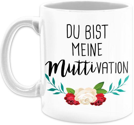 Shirtracer Tasse »Du bist meine Muttivation - Muttertagsgeschenk Tasse - Tasse zweifarbig«, Keramik