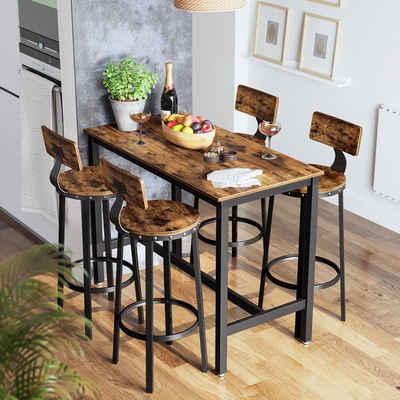 VASAGLE Barhocker »LBC026B01« (2 St), 2er Set Barstühle, Küchenstühle, vintage