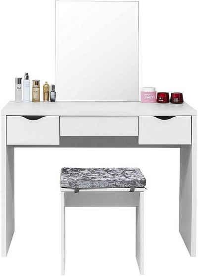EUGAD Schminktisch, Frisiertisch mit Spiegel und Hocker, große Tischplatte 100x50cm, Weiß