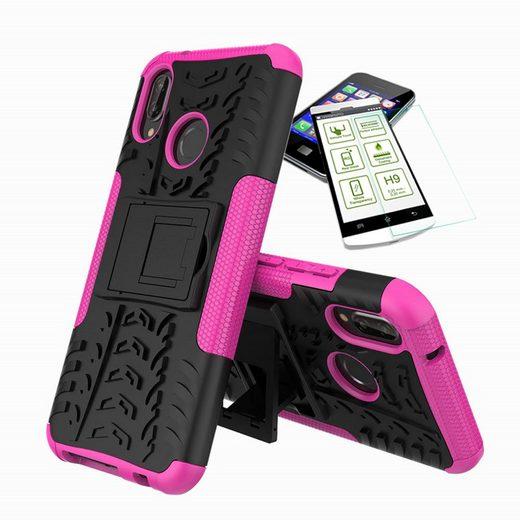 Wigento Smartphone-Hülle »Für Huawei P20 Lite Hybrid Case 2teilig Pink + Hartglas Tasche Hülle Cover Hülle«