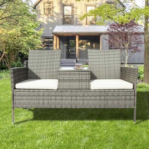 Merax Gartenbank »Saigon«, 2-Sitzer Bank mit integriertem Tisch & Kissen Polyrattan Loveseat Balkonmöbel Set
