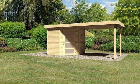 KARIBU Set: Gartenhaus »Schwandorf 3«, BxT: 504x238 cm, inkl. Anbaudach