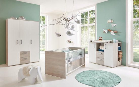 arthur berndt Babyzimmer-Komplettset »Jonas«, (Set, 4-St), Made in Germany; mit Kinderbett, Regal, Schrank und Wickelkommode
