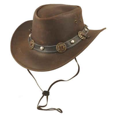 Scippis Cowboyhut »Scippis Cowboyhut Conchos Echtleder braun« Kinnriemen
