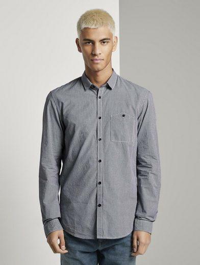 TOM TAILOR Denim Langarmhemd »Hemd mit kleinem Karomuster«