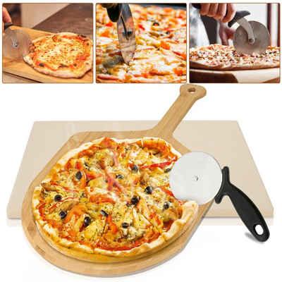 Einfeben Pizzastein »Pizzastein, Cordierit, für Backofen Grill aus Cordierit - 38x30x15cm Pizza Stein für Ofen mit Pizzaschaufel,Multifunktions-Pizzaschneider«, Cordierit, Korrosionsbeständigkeit