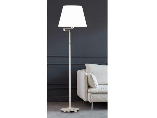 FISCHER & HONSEL LED Stehlampe, Designklassiker Chrom Silber Lampen-Schirm Stoff verstellbar, Bodenleuchte & Leselampe mit Schirm fürs Wohnzimmer