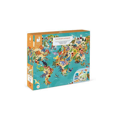 Janod Puzzle »Edukativ-Puzzle Dinosaurier mit Figuren, 200 Teile«, Puzzleteile