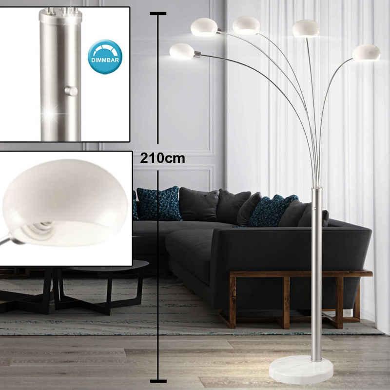 etc-shop LED Deckenfluter, Stehleuchte dimmbar Glas Strahler Standlampe Dimmer Stehlampe Wohnzimmer Modern, Marmorsockel, 5x E14, LxBxH 110 x 140 x 210 cm