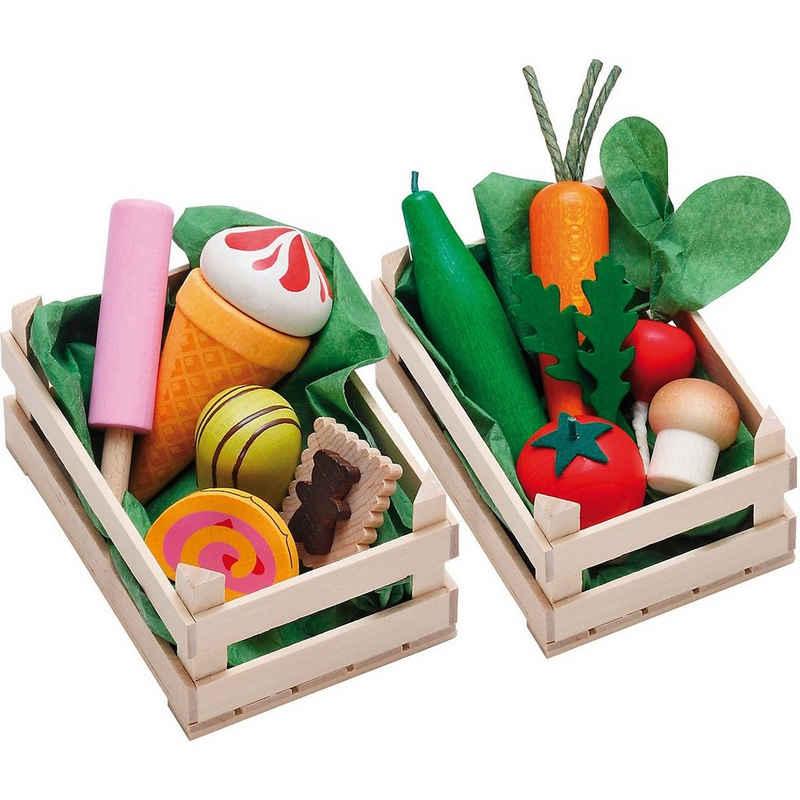 Erzi® Spiellebensmittel »Exklusiv Set Sortimente Gemüse + Süßwaren«