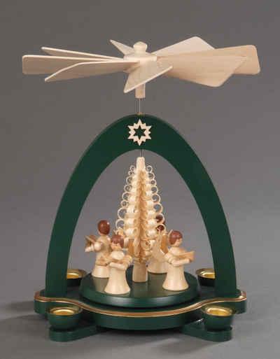 Albin Preissler Weihnachtspyramide »4 stehende Engel mit Spanbaum«, Handwerkskunst aus dem Erzgebirge
