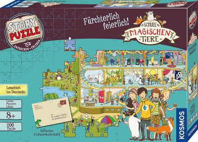 Kosmos Puzzle »Story Puzzle: Die Schule der magischen Tiere, Fürchterlich Feierlich«, 200 Puzzleteile, mit Leuchteffekt; Made in Germany