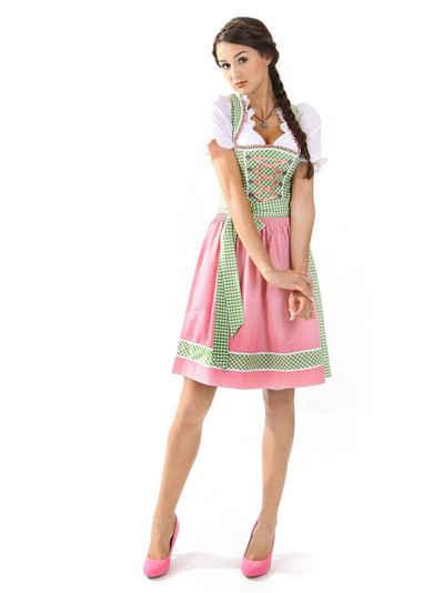 Almbock Dirndl »Mini Dirndl Lucie« (2-tlg) grün-pink (exclusive)