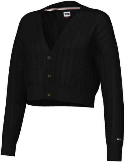 Tommy Jeans Strickjacke »TJW Crop Essential Rib Cardigan« in breitem Rippenstrick & Tommy Jeans Logo-Flag