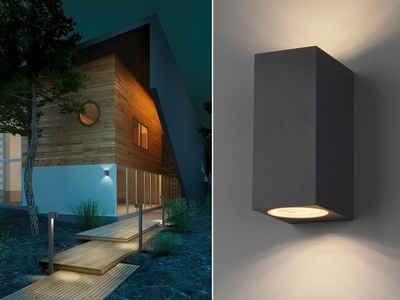 meineWunschleuchte LED Außen-Wandleuchte, Fassaden-Beleuchtung Up and Down in Anthrazit für Haus-Wand, moderne Hausbeleuchtung draußen, Terrasse