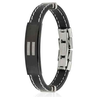 BUNGSA Armband »Armband Gleichheitszeichen schwarz aus Gummi Unise« (inkl. Schmuckbeutel aus Organza), Bracelet Armschmuck Damen Herren Freundschaft