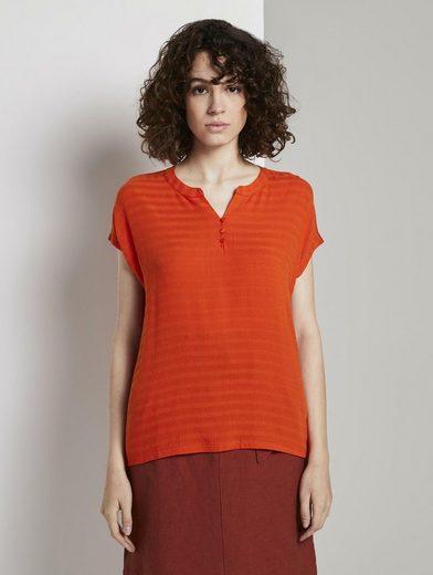TOM TAILOR T-Shirt »T-Shirt mit Henley-Ausschnitt im Materialmix«