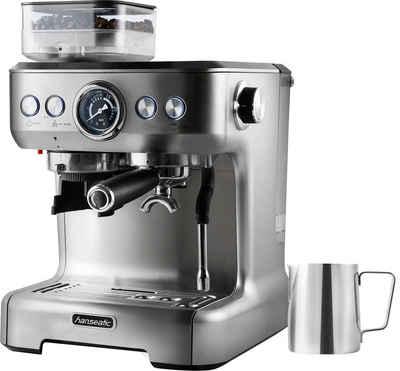 Hanseatic Siebträgermaschine Espressomaschine 71578759, inkl. Edelstahl-Milchkännchen