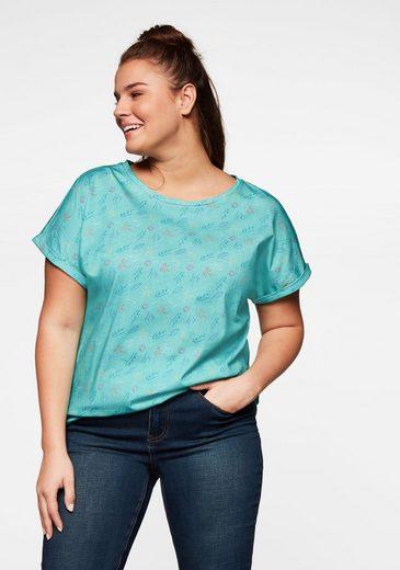 Sheego T-Shirt mit tropischem Alloverdruck