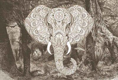 Architects Paper Fototapete »Atelier 47 Elephant Head 1«, glatt, orientalisch, (4 St)