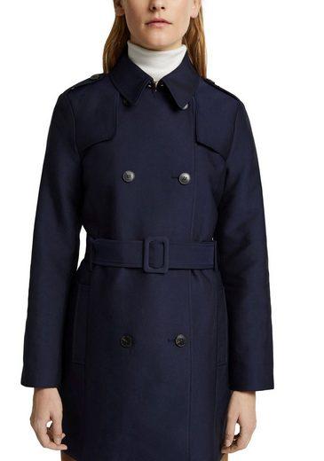 Esprit Collection Trenchcoat (mit Bindegürtel) zweireihig geknöpft mit klassischen Details