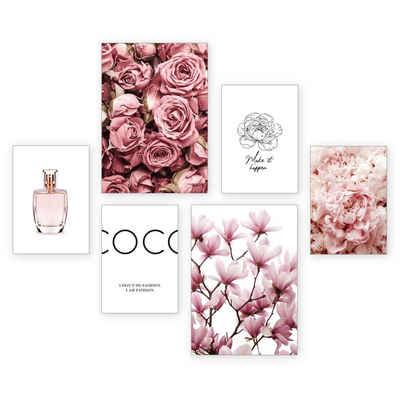 Kreative Feder Poster »Parfum«, Blüten (Set, 6 Stück), 6-teiliges Poster-Set, Kunstdruck, Wandbild, Posterwand, Bilderwand, optional mit Rahmen, WP511