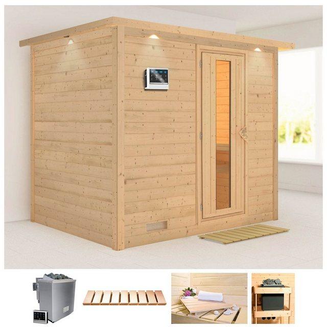 Saunen und Zubehör - KARIBU Sauna »Sonara«, 259x210x202 cm, 9 kW Bio Ofen mit ext. Steuerung, Dachkranz  - Onlineshop OTTO