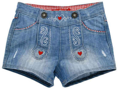 "BONDI Jeansshorts »Kurze Mädchen Shorts ""Alpenglück"" mit Herzen 26068 - Blau Rot, Kinder Sommer Hose«"