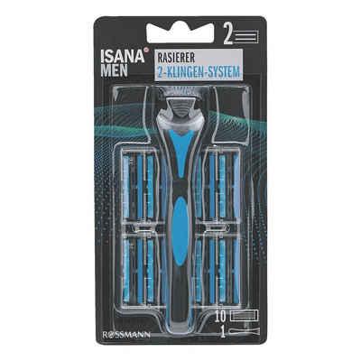 ISANA Körperrasierer »MEN«, mit 2-Klingen-System, Gleitstreifen und flexiblem Schwingkopf, inkl. 10 Rasierköpfe