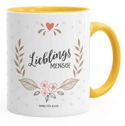 MoonWorks Tasse »Geschenk Tasse Kaffeetasse Lieblingsmensch Danke Liebe Freundschaft Familie MoonWorks® Tasse Innenfarbe«, Keramik
