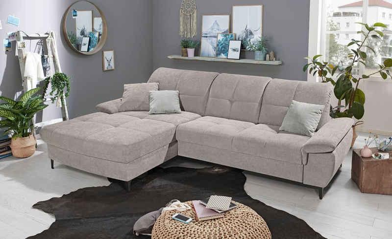 set one by Musterring Ecksofa »SO 1400«, mit Rückenlehnenverstellung und manuelle Vorziehbank, wahlweise mit Bettkasten