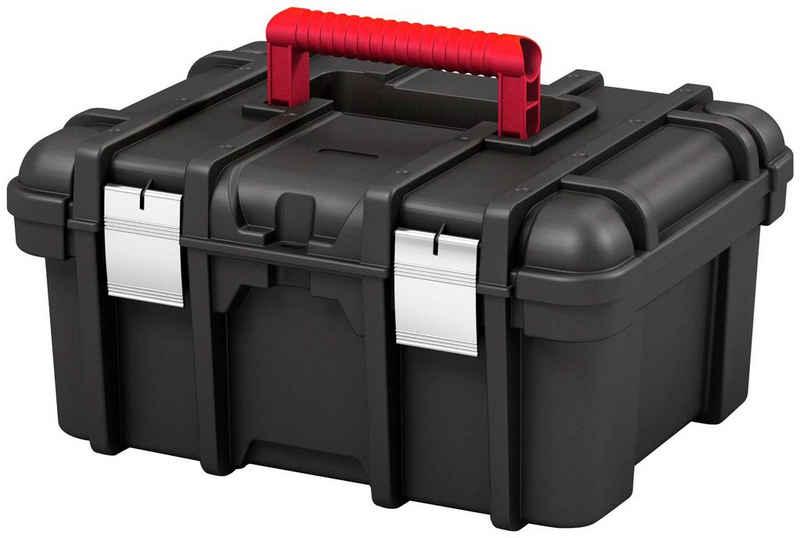 Keter Werkzeugbox »Wide«, Metallschnallen, abschließbar, herausnehmbares Kleinteilefach, breiter Tragegriff