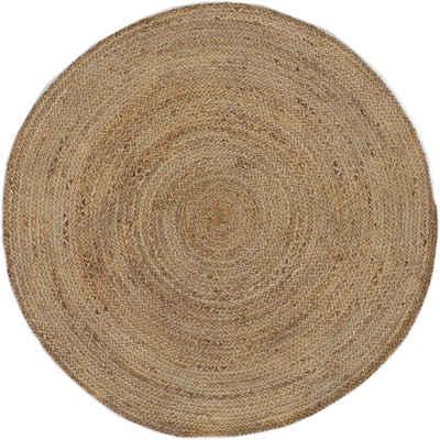 Teppich »Nele«, carpetfine, rund, Höhe 6 mm, Wendeteppich 100% Jute in rund und oval, Wohnzimmer