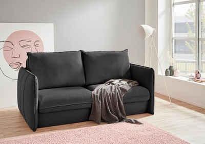 INOSIGN Polstergarnitur »Tiny Mike«, (3-tlg), Verwandlungsofa: 2 Hocker im Sofa integriert, können separat gestellt werden, mit Keder und feiner Steppung, Sitzbreite 180 cm