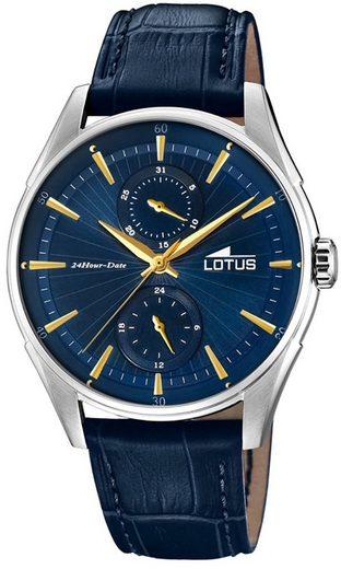 Lotus Multifunktionsuhr »UL18523/3 Lotus Herren-Armbanduhr blau Analog«, (Analoguhr), Herren Armbanduhr rund, groß (ca. 41mm), Lederarmband blau