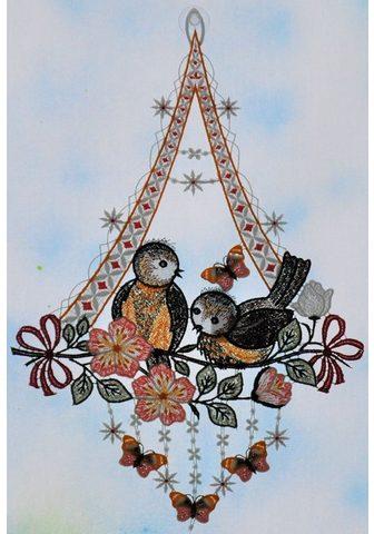 Stickereien Plauen Fensterbild »Vögel su Schmetterling«