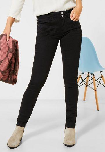 STREET ONE Slim-fit-Jeans mit Doppelknopf am Bund